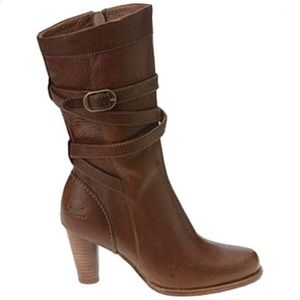 UGG Caroline Brown Pebbled Leather Mid-Calf Boot